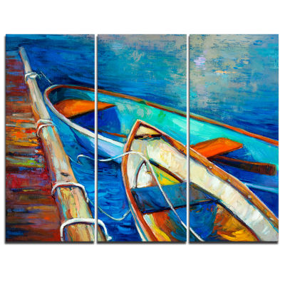 Designart Boats And Pier In Blue Shade Seascape Canvas Art Print - 3 Panels