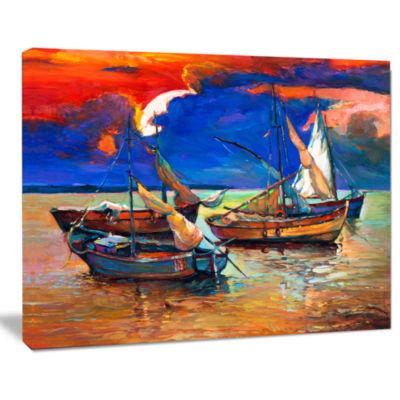 Design Art Fishing Boats Under Blue Sky Seascape Canvas Art Print