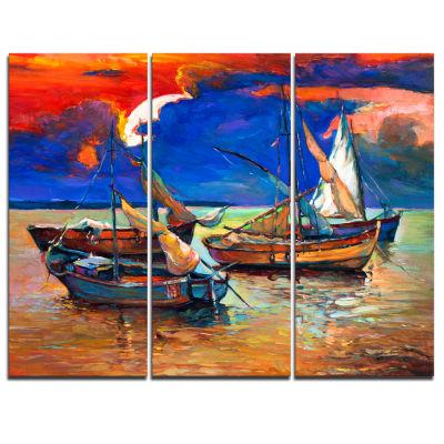 Designart Fishing Boats Under Blue Sky Seascape Canvas Art Print - 3 Panels
