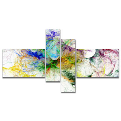 Designart Wings Of Angels Purple Abstract CanvasArt Print - 4 Panels