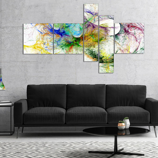 Designart Wings Of Angels Purple Abstract CanvasArt Print - 5 Panels