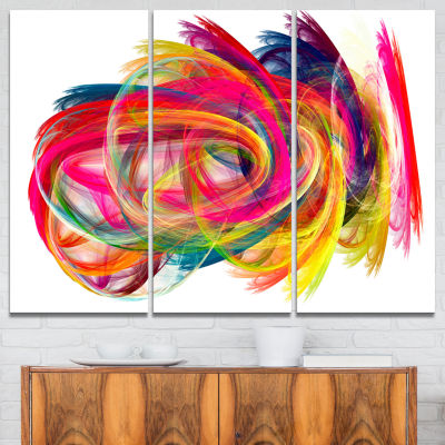 Design Art Colorful Thick Strokes Abstract Canvas Art Print - 3 Panels