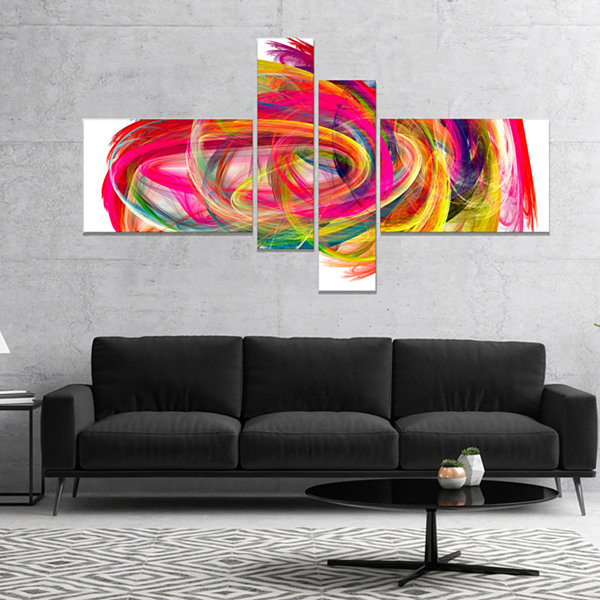 Designart Colorful Thick Strokes Abstract CanvasArt Print - 4 Panels