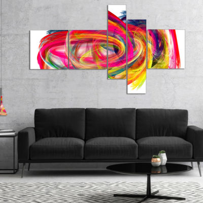 Design Art Colorful Thick Strokes Abstract CanvasArt Print - 5 Panels