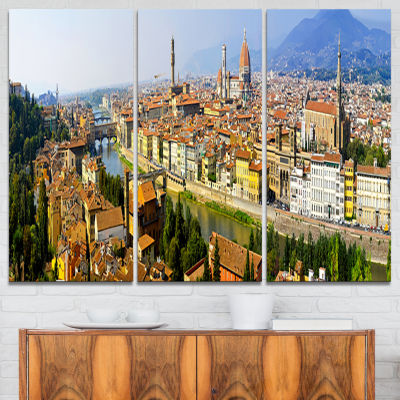 Designart Florence Panoramic View Cityscape PhotoCanvas Print - 3 Panels