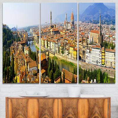 Design Art Florence Panoramic View Cityscape PhotoCanvas Print - 3 Panels