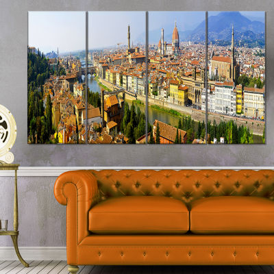 Designart Florence Panoramic View Cityscape PhotoCanvas Print - 4 Panels