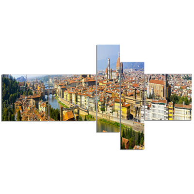 Designart Florence Panoramic View Cityscape PhotoCanvas Print - 5 Panels