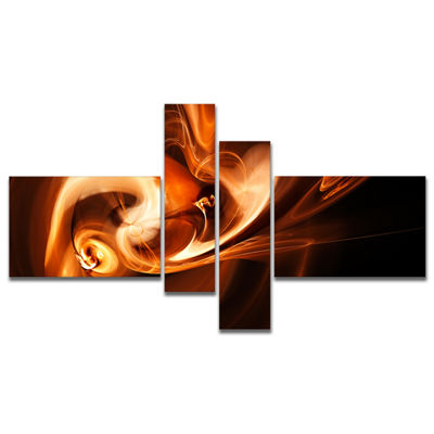 Designart Fractal Smoke Texture Brown Abstract Canvas Art Print - 4 Panels