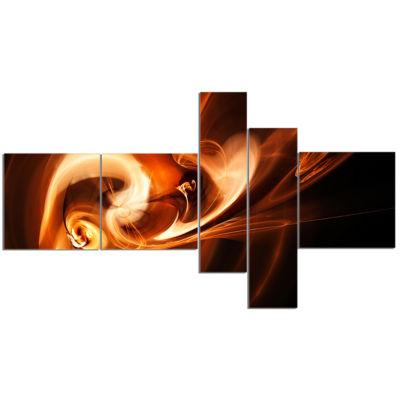 Designart Fractal Smoke Texture Brown Abstract Canvas Art Print - 5 Panels
