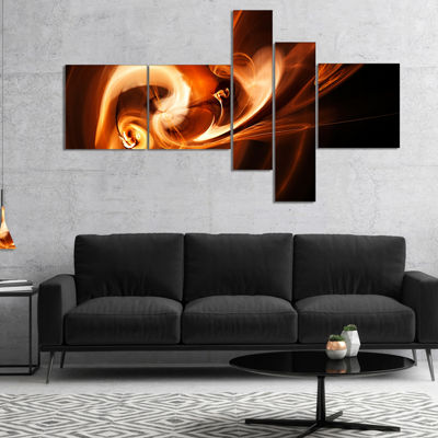 Designart Fractal Smoke Texture Brown Abstract Canvas Art Print - 5 Panels