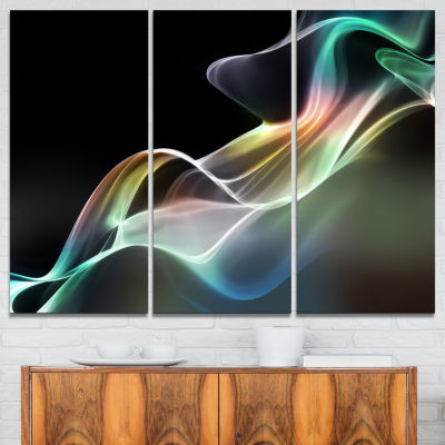 Designart Abstract Smoke Reflection Canvas Art Print - 3 Panels