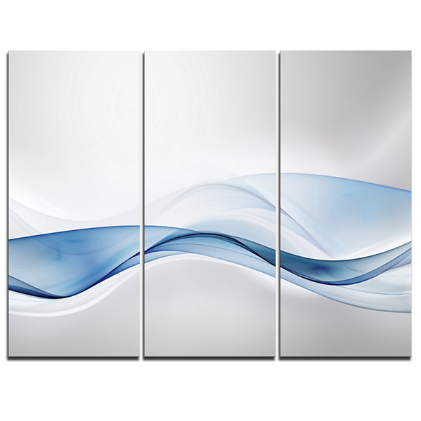Designart 3D Wave Of Water Splash Abstract CanvasArt Print - 3 Panels