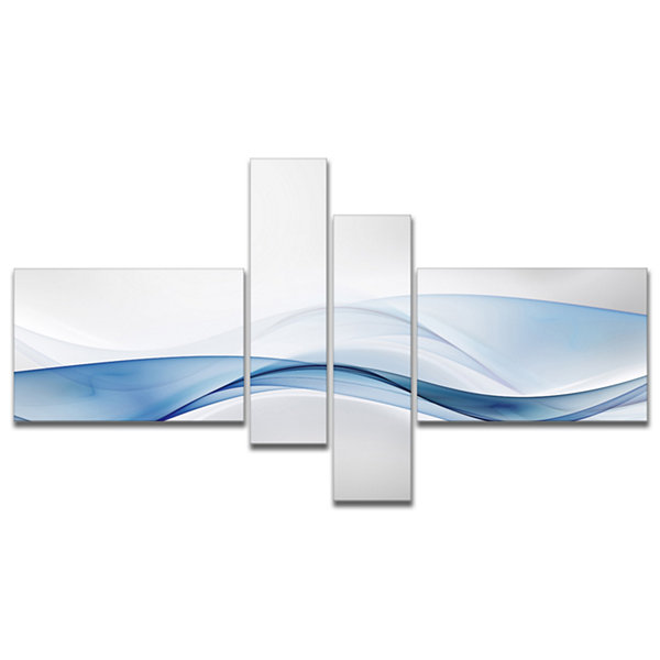 Design Art 3D Wave Of Water Splash Abstract CanvasArt Print - 4 Panels