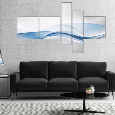 Designart 3D Wave Of Water Splash Abstract CanvasArt Print - 5 Panels