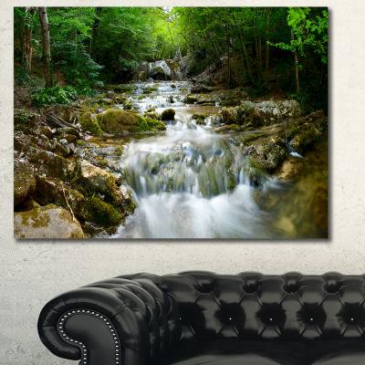 Designart Natural Spring Waterfall Landscape Photography Canvas Print