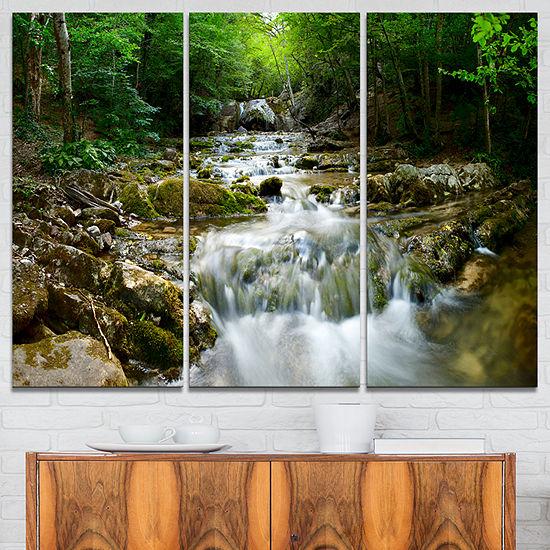 Designart Natural Spring Waterfall Landscape Photography Canvas Print - 3 Panels