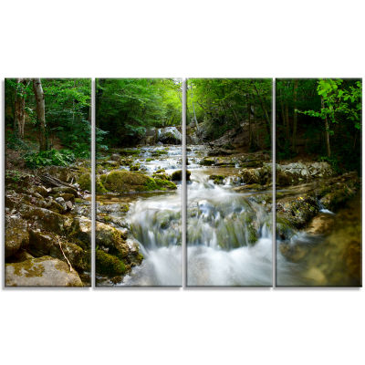 Designart Natural Spring Waterfall Landscape Photography Canvas Print - 4 Panels