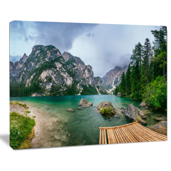 Design Art Lake Between Mountains Landscape Photography Canvas Print
