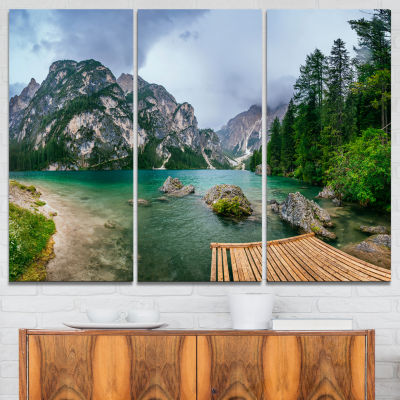 Design Art Lake Between Mountains Landscape Photography Canvas Print - 3 Panels