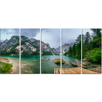 Designart Lake Between Mountains Landscape Photography Canvas Print - 5 Panels