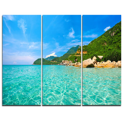 Design Art Sky Mountain And Water Landscape Photography Canvas Print - 3 Panels