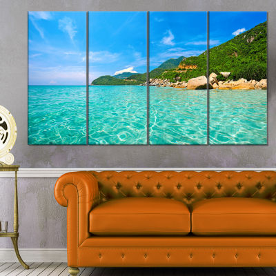 Designart Sky Mountain And Water Landscape Photography Canvas Print - 4 Panels