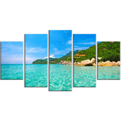 Design Art Sky Mountain And Water Landscape Photography Canvas Print - 5 Panels