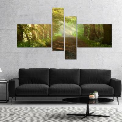 Designart Suns Peeks Into Forest Landscape Photography Canvas Print - 4 Panels