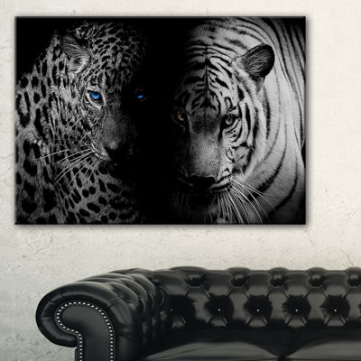 Designart Leopard And Tiger In Black Animal CanvasArt Print