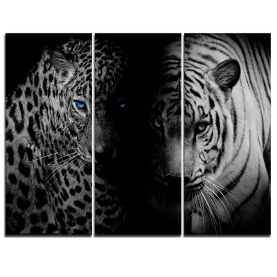 Design Art Leopard And Tiger In Black Animal Canvas Art Print - 3 Panels
