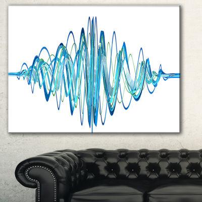 Designart Blue Circled Waves Abstract Canvas Art Print