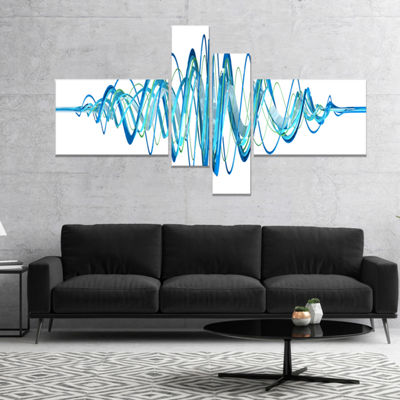 Designart Blue Circled Waves Abstract Canvas Art Print - 4 Panels