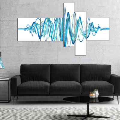 Designart Blue Circled Waves Abstract Canvas ArtPrint - 5 Panels