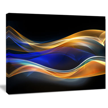 Designart 3D Gold Blue Wave Design Abstract CanvasArt Print