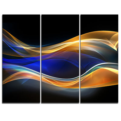 Designart 3D Gold Blue Wave Design Abstract CanvasArt Print - 3 Panels