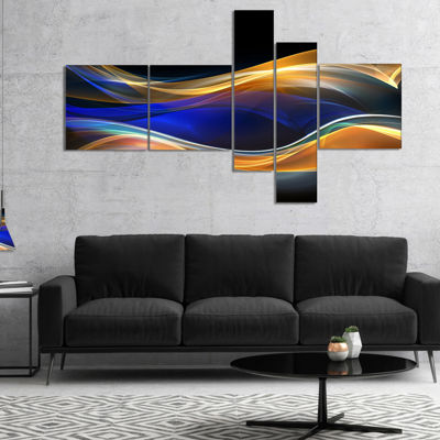 Designart 3D Gold Blue Wave Design Abstract CanvasArt Print - 5 Panels