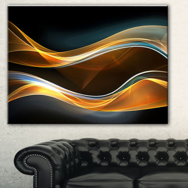 Designart 3D Gold Waves In Black Abstract Canvas Art Print
