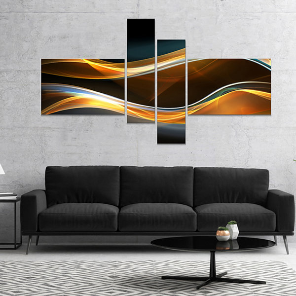 Designart 3D Gold Waves In Black Abstract Canvas Art Print - 4 Panels