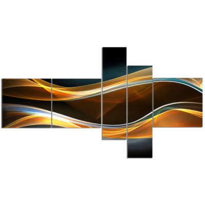 Design Art 3D Gold Waves In Black Abstract Canvas Art Print - 5 Panels
