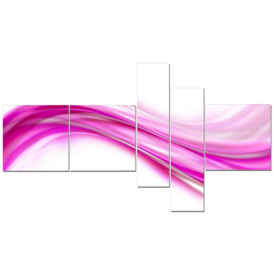 Designart Abstract Pink Downward Waves Art - 5 Panels