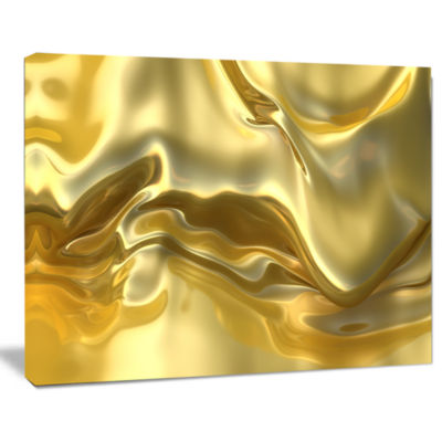 Designart Golden Cloth Texture Abstract Canvas ArtPrint