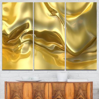 Designart Golden Cloth Texture Abstract Canvas ArtPrint - 3 Panels