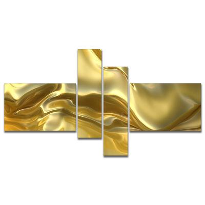 Designart Golden Cloth Texture Abstract Canvas ArtPrint - 4 Panels