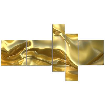Design Art Golden Cloth Texture Abstract Canvas Art Print - 5 Panels