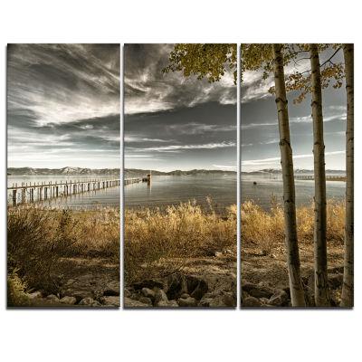 Designart Pier In Brown Lake Landscape Photo Canvas Art Print - 3 Panels