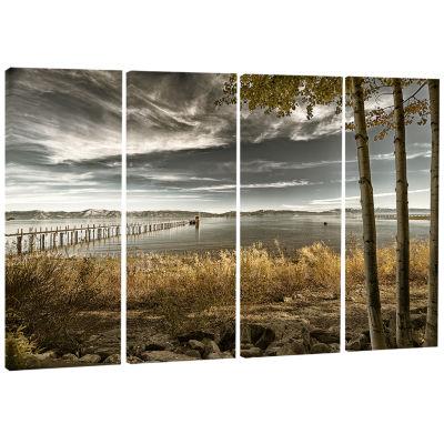 Designart Pier In Brown Lake Landscape Photo Canvas Art Print - 4 Panels
