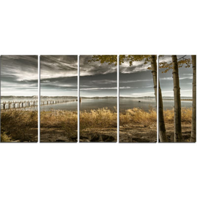 Designart Pier In Brown Lake Landscape Photo Canvas Art Print - 5 Panels