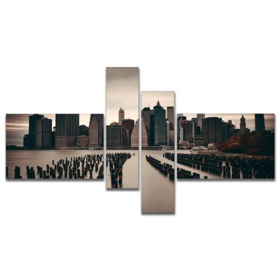 Design Art Manhattan Financial District Cityscape Photo Canvas Print - 4 Panels