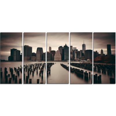 Design Art Manhattan Financial District Cityscape Photo Canvas Print - 5 Panels
